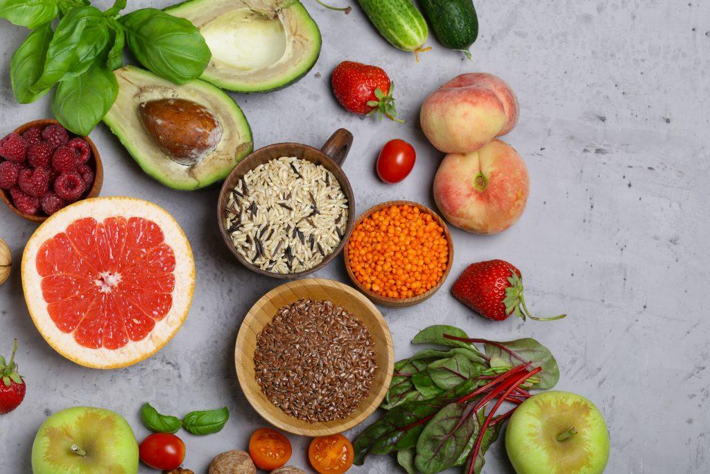fruta y verdura antioxidante de la piel